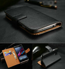 Genuine Real Leather Flip Stand Wallet Case Cover For Sony Xperia Models