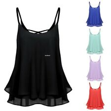 Women Sexy Sleeveless Strap Solid Chiffion Loose Camisole Vest Tank Top EA