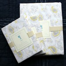 Pottery Barn Lara Reversible Duvet Cover Set Gray & Yellow Full / Queen 2 Shams