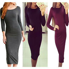 Womens Ladies Long Jersey Sleeve Plain Stretch Bodycon Midi Dress Wiggle Pencil