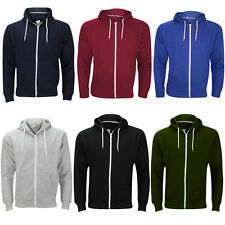 New Mens Hoodie Fleece Zip Up Plain Hoody Sweatshirt Hooded Zipper Top Size S-XL