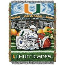 University of Miami Hurricanes Throw Blanket Afghan Tapestry