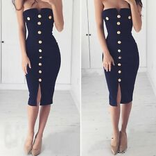 Women Sexy Strapless Bodycon Button Slim Dress Cocktail Party Evening Clubwear