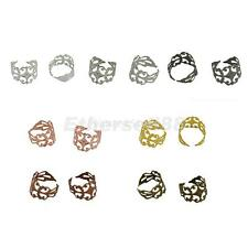 10pcs Adjustable Vintage Filigree Ring Blanks Cameo Cabochon Bases with Flat Pad