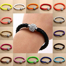 Fashion Mix-Color Braided Crystal Disco Ball Beads Leather Cuff Bracelet Bangle