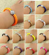 Braided PU Leather Friendship Charm Bracelet Rhinestone Magnetic Wristband Hot
