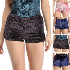Trendy Women High Waist Crushed Velvet Shorts Lady Casual Shorts Hot Pants