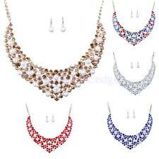Fashion Women Crystal Rhinestone Wedding Bridal Statement Necklace Earrings Set
