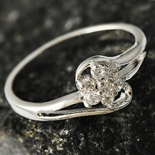 Womens silver plated Crystal Flower wedding promise Band Ring Size 6 10 lot