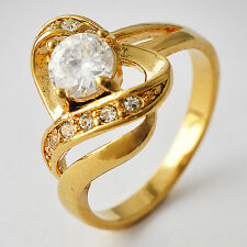 Fashion Womens gold filled Crystal Heart Eternity wedding Band Ring Size 7-9