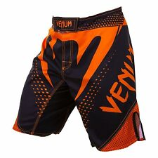 Venum Hurricane Fight Shorts - Black/Neon Orange MMA/BJJ