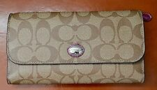 NWT Coach Peyton Signature Checkbook Wallet Purse F51103