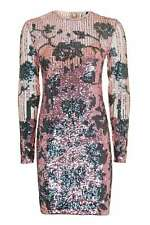 NEW EX TOPSHOP Pink Flower Sequin Mini Dress in Sizes 4-14