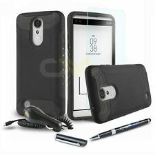QUANTUM ARMOR SHOCKPROOF HYBRID HARD COVER PHONE CASE FOR LG Phoenix 3 +BUNDLE