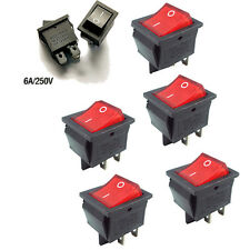 3Pcs AC 250V 4 Pins KCD4-201N On-Off Button Power Rocker Boat Switchs With Light
