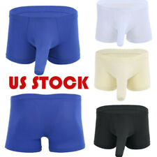 Men Boxer Briefs Underwear Sexy Penis Sheath Cock Cover Up Sleeves Shorts Trunks