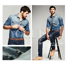 Streetwear Mens Casual Denim Shirts Button Up Outfits Long Sleeve Slim Blouse