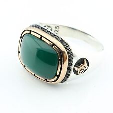 Handcrafted .925 Sterling Silver Green AGATE (Aqeeq) Stone  Men's Ring -US -1K7P