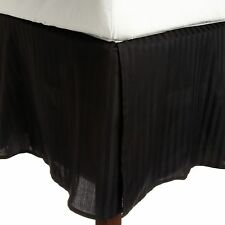 1 QTY Bed Skirt  Egyptian Cotton 1000 TC Drop 15 Inch Black Stripe