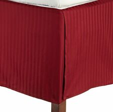 1 QTY Bed Skirt  Egyptian Cotton 1000 TC Drop 15 Inch Burgundy Stripe