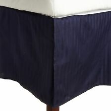 1 QTY Bed Skirt  Egyptian Cotton 1000 TC Drop 15 Inch Navy Blue Stripe