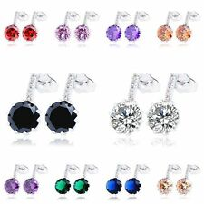 Statement womens lucky rainbow crystal white gold Plated vintage stud earrings