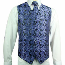 XS to 6XL Paisley Tuxedo Suit Dress Vest Waistcoat & Necktie Prom Purple / Black