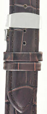 NEW Brown Genuine Croc Leather Watch Strap Double Deployant Clasp 22/24mm