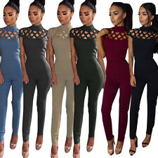 New Women Fashion Bodycon Jumpsuit Hollow Out Sexy Ladies Playsuit Casual