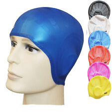 6 Colors Silicon Swimming Long Hair Cap Hat Bathing Cap With Ear Cup Prevent Wat