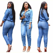 Casual Women Denim Bandage Jumpsuit Ladies  Evening Party Playsuit Street Wear
