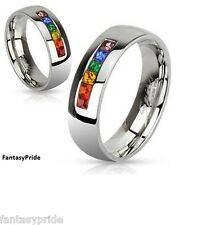 Gay Pride Stainless Steel Rainbow gem wedding promise ring band sizes 5-13