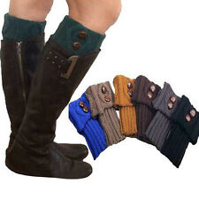 Women Winter Leg Warmers Socks Button Crochet Knit Boot Socks Toppers Cuffs H