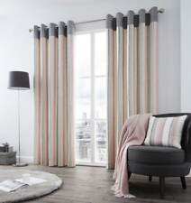 VERTICAL STRIPE PINK GREY CREAM LINED RING TOP CURTAINS *8 SIZES*