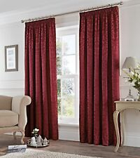 DAMASK JACQUARD BURGUNDY RED LINED PENCIL PLEAT CURTAINS *7 SIZES*