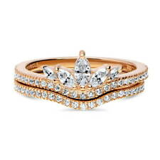 Rose Gold Over Silver CZ Art Deco Crown V Shaped Promise Ring Set 0.66 CT
