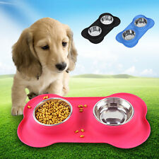Stainless Steel Double Cat Dog Water Food Feeder Dish Bowls Stand Pet Supply DH