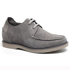 """Men's Elevator Shoes Suede Driving Boat Shoes 2.36"""" Taller Lifting Shoes - Gray"""