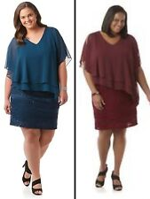 NEW NWT SD Collection Womens Plus Blouson Sheath Dress Chiffon Overlay Wine Teal
