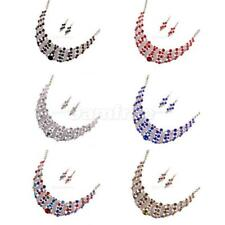 Women Crystal Chain Statement Bib Pendant Choker Collar Necklace Jewelry Set