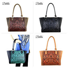 Delila Montana West 100% Genuine Tooled Leather Tote Handbag Purse Black Brown