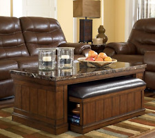 Ashley Cocktail Table with Ottoman Marble Top Merihill Medium Brown  Set of 2