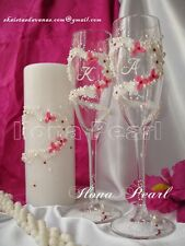 Personalized Wedding Toasting Champagne Glasses Flute Crystal Hearts Bride Groom