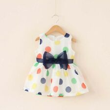 Summer Kids Baby Girls Sleeveless Princess Dress Bowknot Polka Dots Tops Skirt