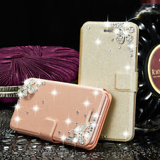 Luxury Bling Crystal Leather Flip Wallet Card Stand Case Cover For Apple iPhone