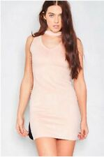 Missy Empire Tamsina Nude Faux Suede Sleeveless Bodycon Choker Dress