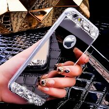 Luxury Gold Mirror Case Glitter Diamond Acrylic Soft Slim Phone Cover For iPhone