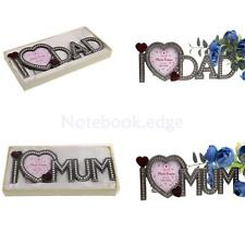 Freestanding Crystal Photo Frame Home Party Picture Frame I Love Mum/ Dad