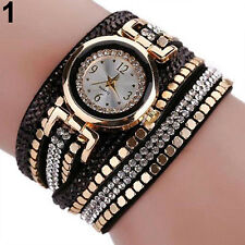 FASHION WOMEN CASUAL FAUX LEATHER RHINESTONE ANALOG QUARTZ WRIST WATCH RECOMMEND