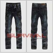 Mens NEW Black Washed Jeans Slim Fit Soft Stretch Denim Designer Pants